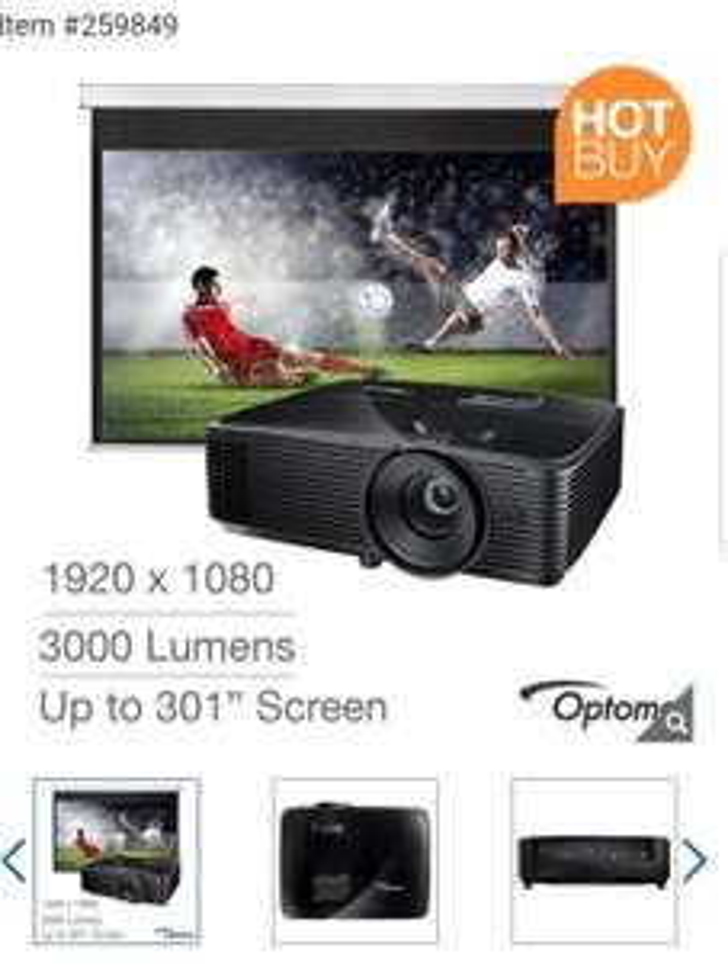 Optoma HD143x Full HD, Home Cinema Projector with 92 Inch DS-9092PWC Screen £449 @ Costco