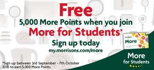 Free 5,000 More Points (£5 Morrisons voucher) for Students signing up to More for Students @ Morrisons