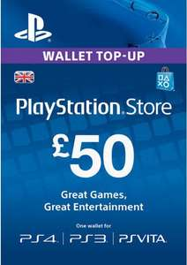 £50 Playstation Network Card UK (PS Vita/PS3/PS4) £42.74 with FB code. Also £40 PSN card for £35.14 with FB code @ CD KEYS