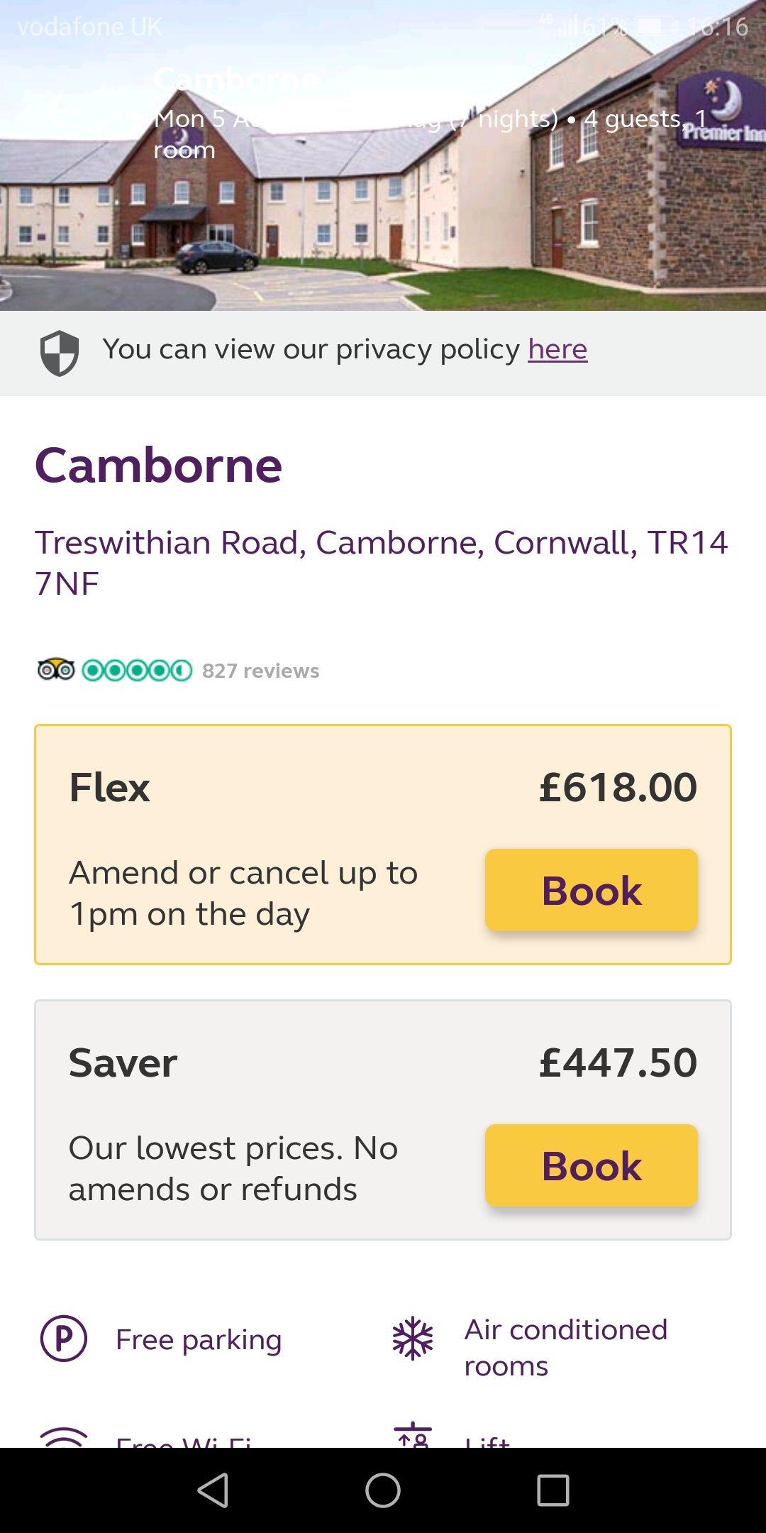 Premier inn Camborne Cornwall 05/08/19 - 12/08/19, 2 adults, 2 children £447.50