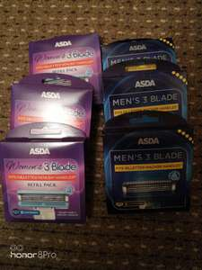 Asda own brand 3 blade razor blades 8 pack found in store in Kettering - 50p. There was also 4 pack of the woman's razors at 50p also
