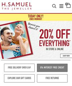 Today only! 20% off EVERYTHING including Sale at H. Samuel instore and online + Free C+C