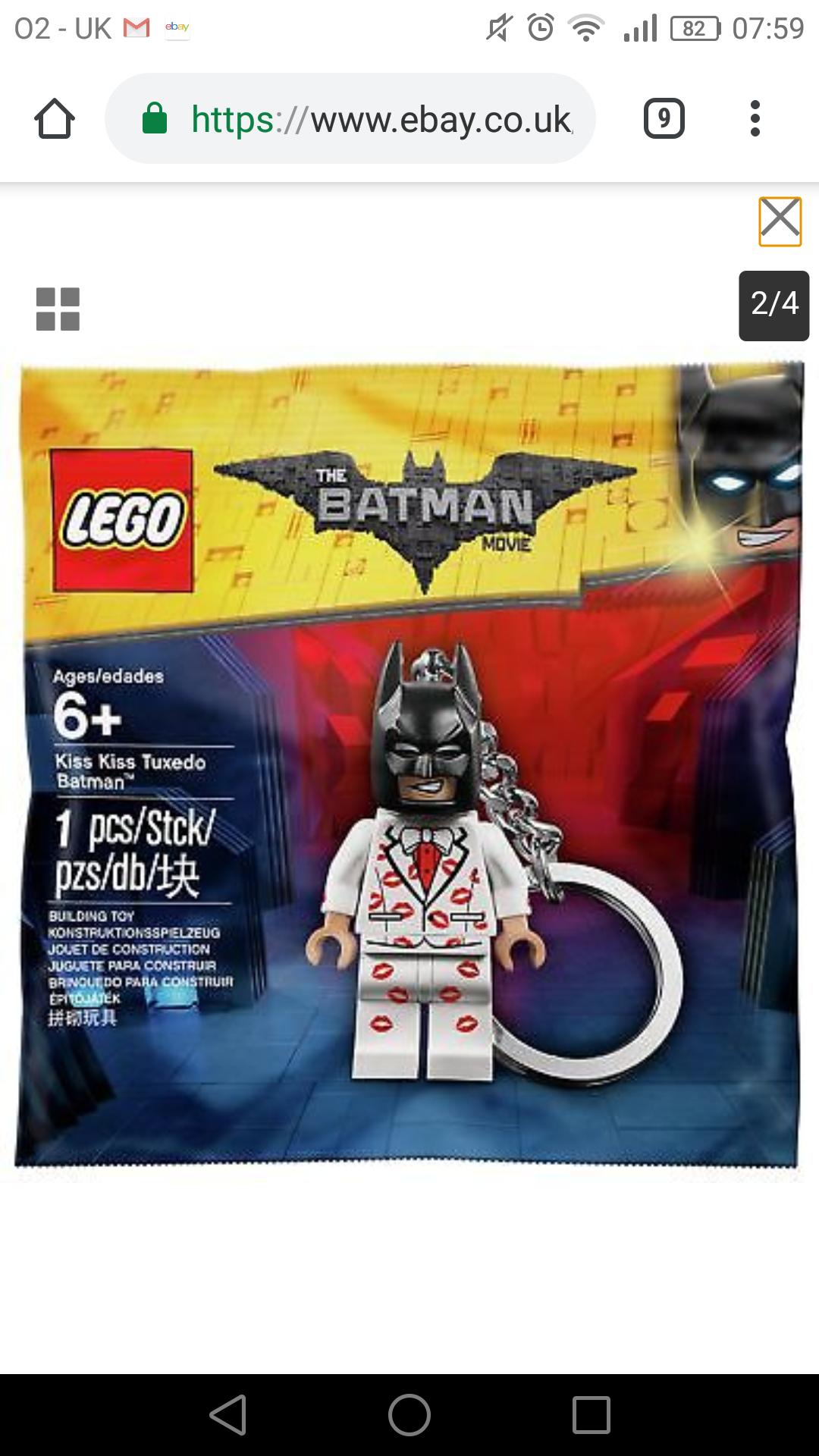 Lego batman keyring free delivery £2.49 @ Argos on eBay