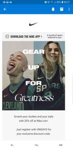 20% OFF NIKE FOR STUDENTS UNIDAYS