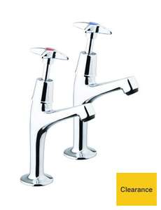 Wickes Trade Chrome Kitchen Sink Crosshead Pillar Taps W/ 10 Year Guarantee £12 @ Wickes Clearance (Free C&C)