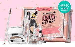Spend £40 get 3 free gifts, 2 free samples and free delivery eg Magical brow stars set worth £118 for £49.50 and 3 gifts & 2 samples @ Benefit
