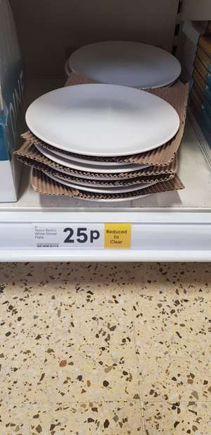 White dinner plate 25p instore in Tesco Narborough road Leicester