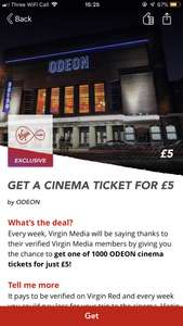 Odeon tickets for £5 or 20% off ticket via Virgin Red