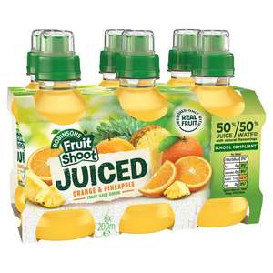 Robinsons Fruit Shoot Juiced Orange & Pineapple Fruit Juice Drink 6x200ml, 2 Packs  For £1 Or 60p Each @ Heron Foods.