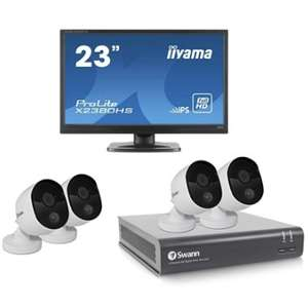 """Swann 4 Channel CCTV Bundle with 1TB HD DVR - 4x 1080p cameras - iiyama Prolite 23"""" Full HD IPS Monitor £319.99 @ Box"""