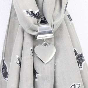 Silver Heart Scarf Ring .80p free delivery @ lisaangel.co.uk