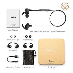 Bluetooth Earphones TaoTronics IPX6 Waterproof Wireless aptX Stereo Magnetic In-Ear Earbuds £14.99 @ Sold by Sunvalleytek-UK and Fulfilled by Amazon