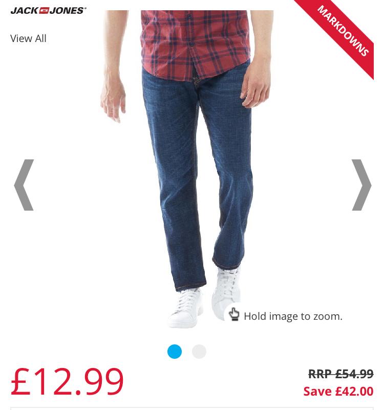 JACK AND JONES Mens Clark Original GE871 LID Regular Fit Jeans Blue Denim £12.99 @ M&M Direct p&p £4.99