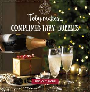 FREE Bottle of Prosecco @ Toby Carvery for Christmas - with purchase of meal from special three-course menus