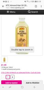 KTC almond hair oil 200ml £1.49 Superdrug