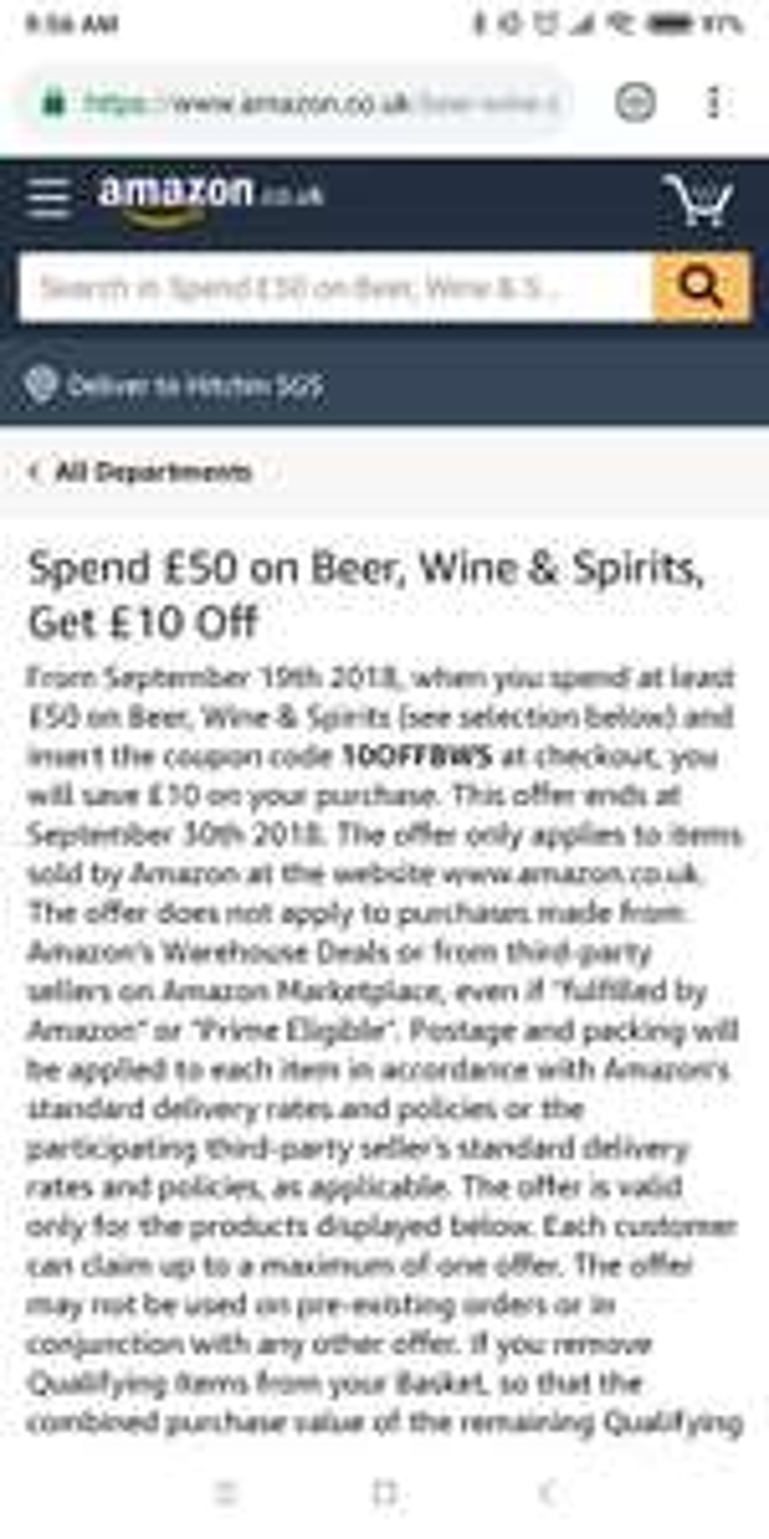 Amazon Spend £50 on Beer, Wine & Spirits, Get £10 Off