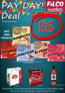 2x Pizza express and 6pack beer £6 - Filco Supermarkets