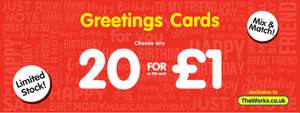 20 Birthday Cards At The Works for just £1.00