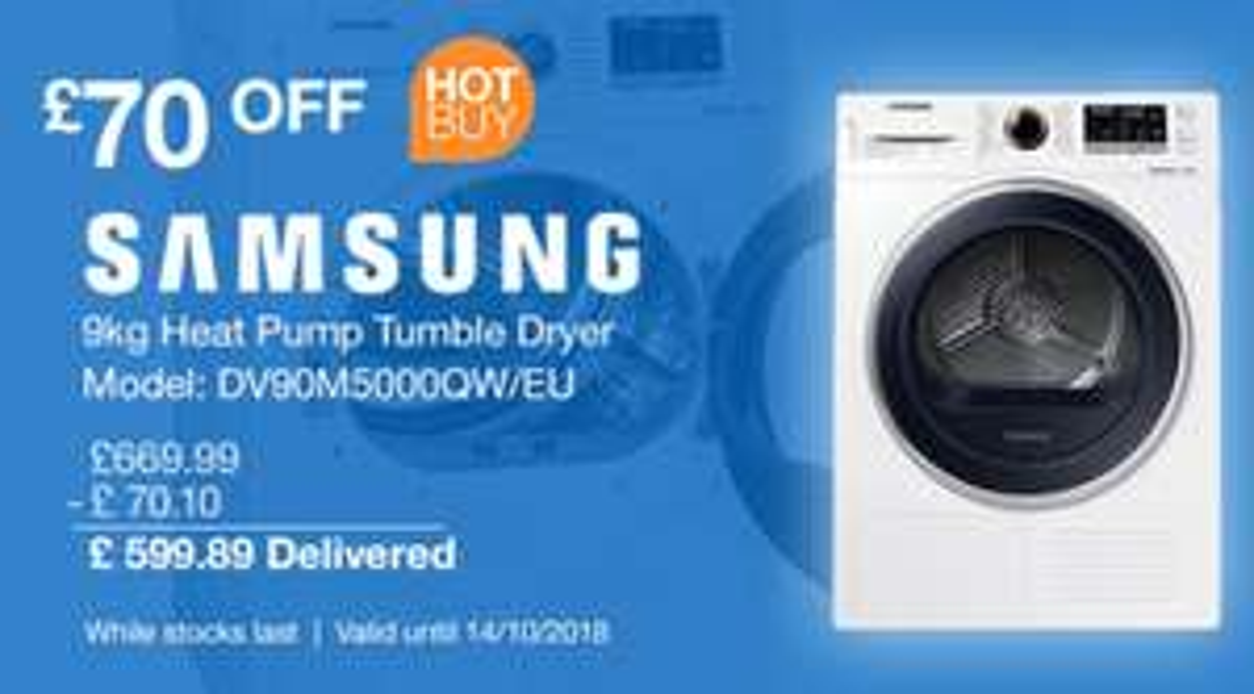 £70 off Samsung 9kg Heat Pump Tumble Dryer £599.89 @ Costco