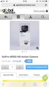 Price drops even further for GoPro Hero 2018 £112.09 @ Eglobal central