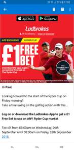 Ladbrokes £1 Free Bet on Ryder Cup (check account for eligibility)