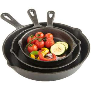VonShef 3pc Cast Iron Skillet Set - £24.99 @ Domu