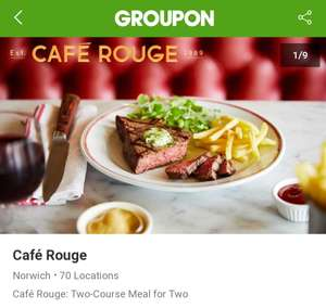 Cafe Rouge - Two courses for two people for £19 or three courses each for £23 with Groupon