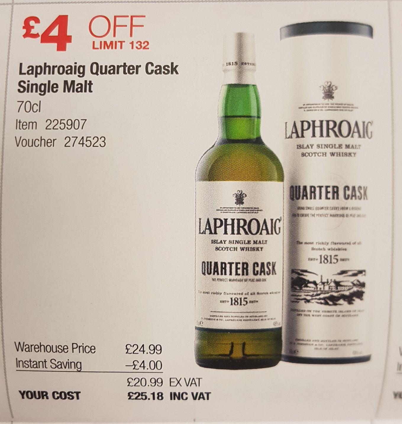 Laphroaig Quarter Cask Single Malt Scotch Whisky 70cl 48% £25.18 @ Costco