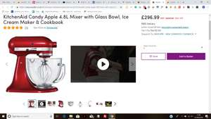 Kitchenaid with Glass Bowl, Ice Cream maker and cookbook £296.99 at wayfair.co.uk