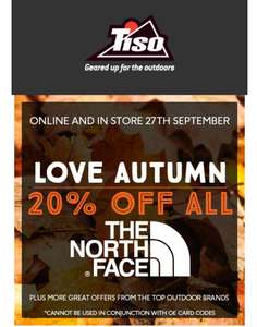 20% off The North Face products @ TISO