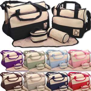 5 piece nappy changing bag set with 2 bags, bottle holder, food holder and changing mat in 4 colours £7.99 delivered @ eBay sold by unlimited seller