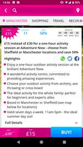 1 hour activity session for £15 (was £30) at Adventure Now via Wowcher - Sheffield or Manchester