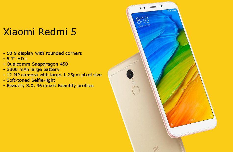 Xiaomi Redmi 5 Global Version 5.7 inch 3GB 32GB Snapdragon 450 Octa core 4G Smartphone Gold £90.30 @ Banggood
