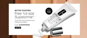 Free FULL SIZE Clinique Superprimer with the purchase of any foundation e.g Clinique fit foundation at £20.50