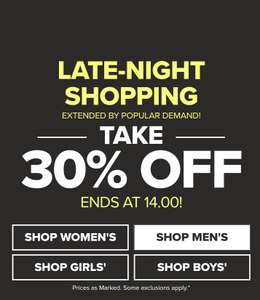 Crocs 30% off late night sale extended