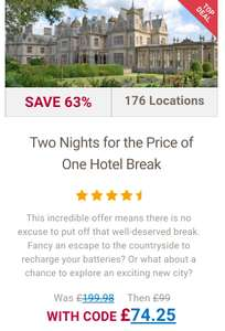 Two Nights for the Price of One Hotel Break - £74.25 @ BuyAGift