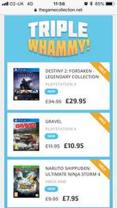 Triple Whammy at TheGameCollection - Destiny 2 Forsaken Legendary Collection PS4 £29.95 Gravel PS4 £10.95 Naruto Shippuden Ultimate Ninja Storm 4 Xbox One £7.95
