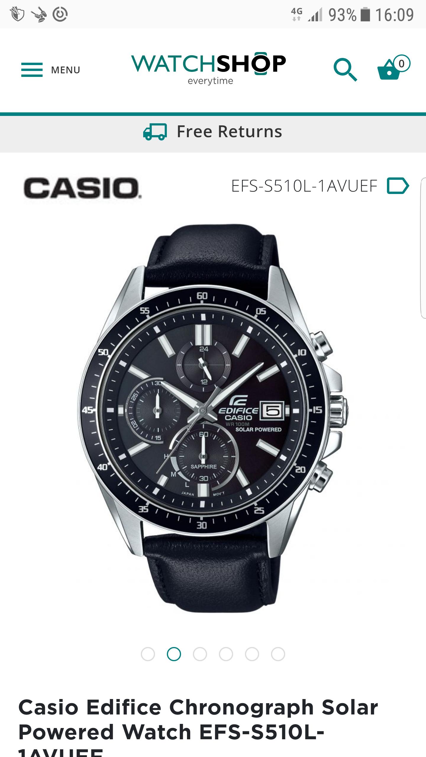 Casio Edifice Chronograph Solar Powered Watch EFS-S510L-1AVUEF £91.52 @ Watch shop