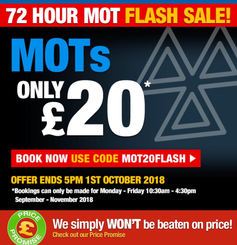 £20 MOT with voucher @ formula one