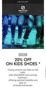 20% off Kids shoes + Free Delivery at Salomon