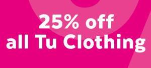 25% off Sainsbury's TU clothing 23rd-29th October