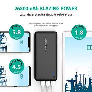 Power Banks RAVPower 26800 Portable Charger 26800mAh 3-Port 5.5A iSmart Output Battery Pack for iPhone XS/XS MAX/XR, Galaxy S9/S8 and Other Android Devices £25.99 Sold by Sunvalleytek-UK and Fulfilled by Amazon