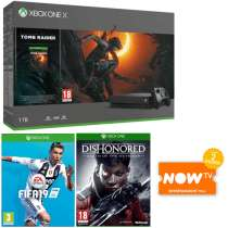Xbox One X 1TB Shadow of the Tomb Raider Bundle - FIFA 19 Dishonored: Death Of The Outsider NOW TV 2 Months Entertainment Pass + Xbox Live 3 Month Gold Membership + £10 Free Xbox Live Credit