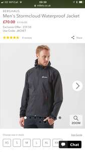 Berghaus Storm Cloud Waterproof Jacket at Millets for £59.50