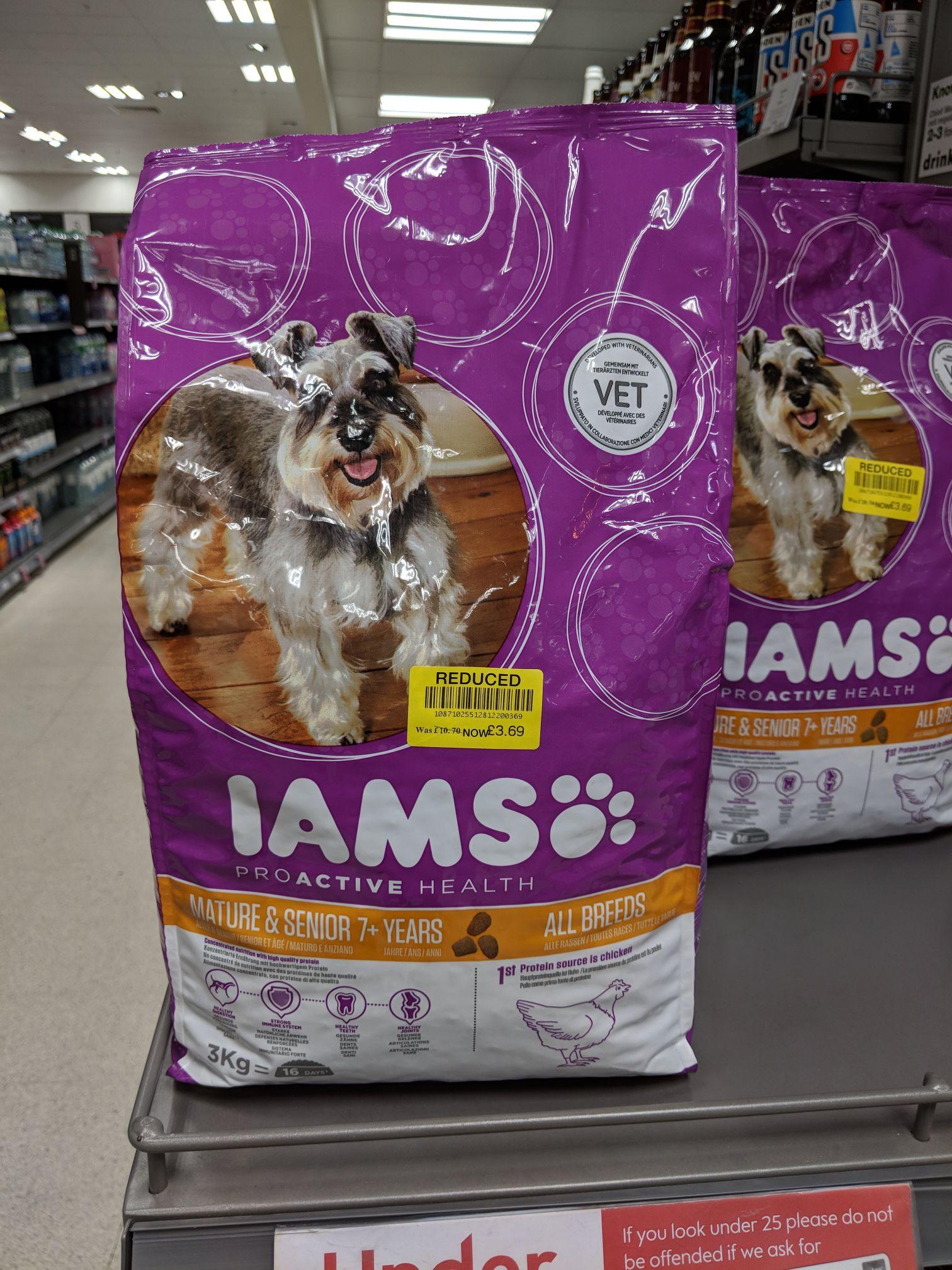 IAMS 3kg senior dog food £3.69 (Waitrose & Partners Barbican)