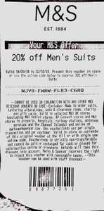 M&S 20% off men's suits (one use only)
