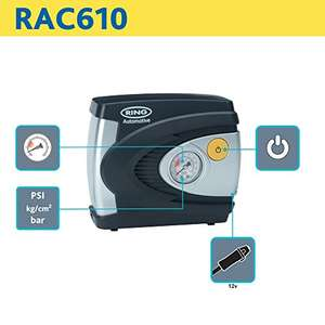 Ring RAC610 12V Analogue Tyre Inflator, Air Compressor Tyre Pump £10.95@ amazon delivered free for prime , or £4.49 delivery