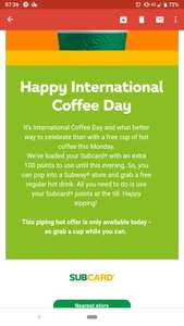 FREE COFFEE from Subway for members today