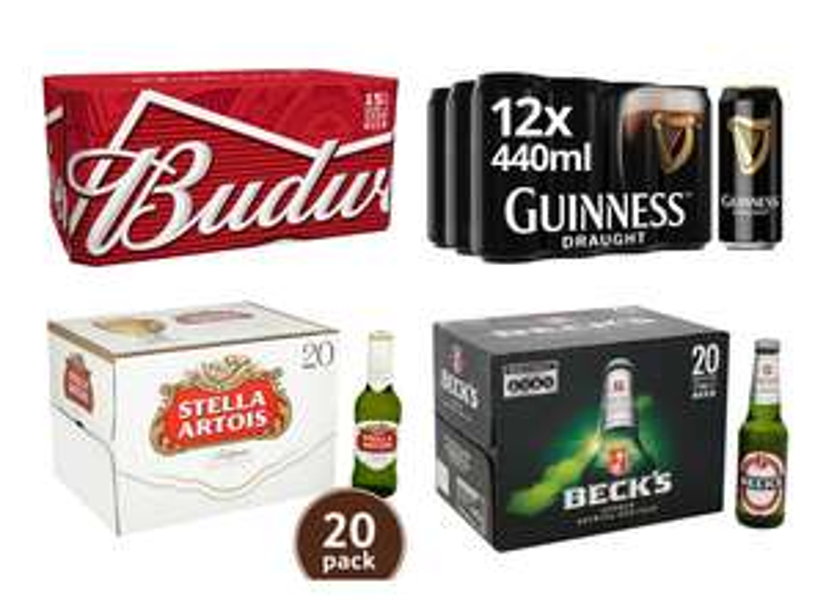 Any 2 for £20.00 Beer Cases -  Budweiser / Becks / Guinness Draught / Stella Artois / Coors Light / Heineken @ Tesco