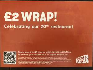 £2 wrap @ Wrap it up! Celebrate our 20th restaurant!!